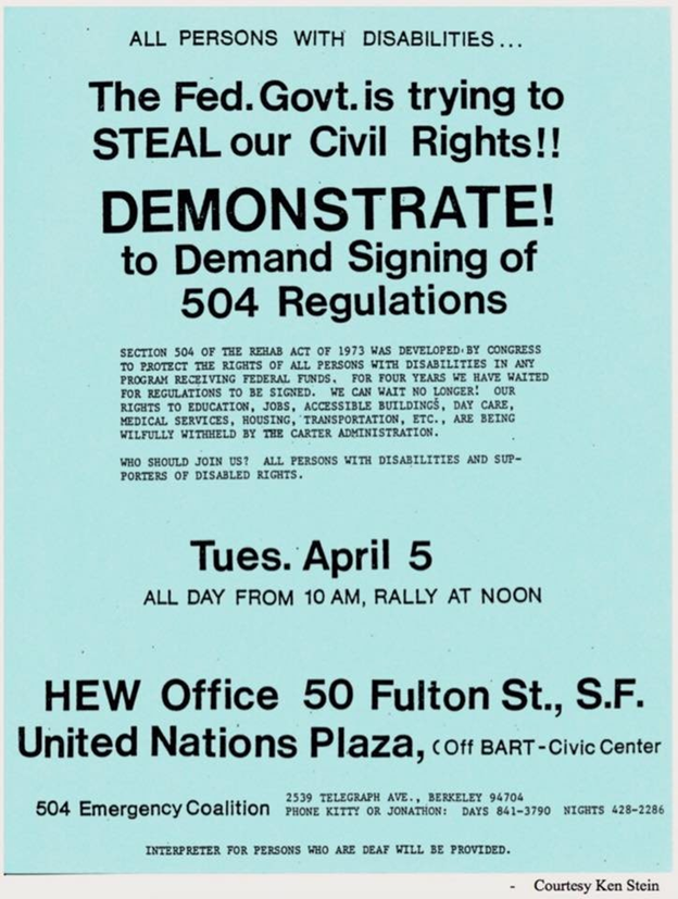 Flyer with the heading Demonstration to demand signing of 504 regulations