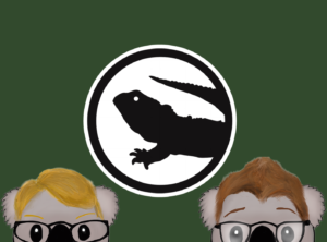 Hank and Green as koalas, in front of the tuataria logo flag