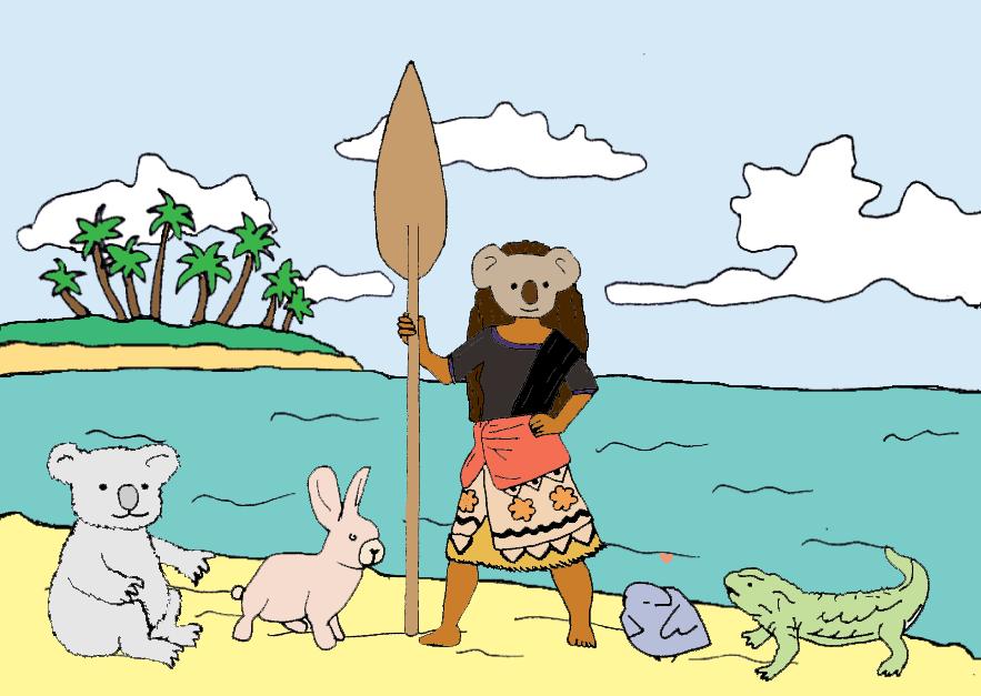 Some of our mascots and inside jokes: a koala, self care bunny, Koana Lisa, self love bird, and a tuatara. Art by @sh